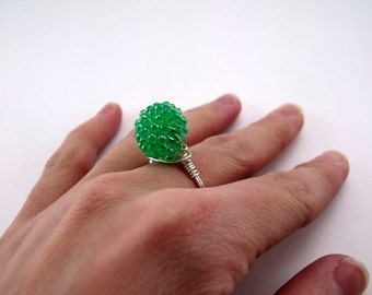 Bead and Wire Ring -Green Bead & Silver Plated Wire