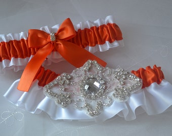 Wedding Garter Set, Garter Set, Torrid Orange With White Satin, Garter Belts, Bridal Garter Set, Garters, Rhinestone Garters