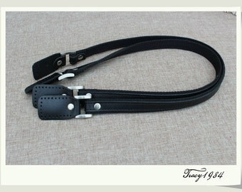 1 Pair 26 inches Black Leather Bag Handles