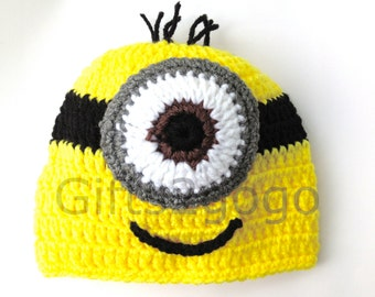 Minion Hat - Crochet Hat - Hats - New Born Crochet Hat - Child Hat