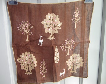 Vintage MCM Hankie Mod Trees & Deer, Signed Erin O'Dell, MCM Forest Scene, Woodlands, Autumn Fall Motif, Arborist, Collectible Gift Display