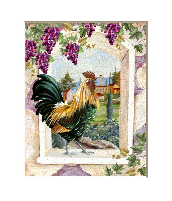 Colorful Kitchen Decor Pictures: Colorful Rooster In The Window Kitchen Decor Rooster Art