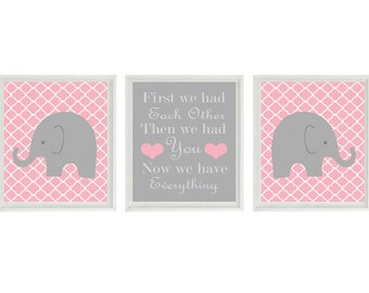 Elephant Nursery Art Print Set  -  Gray Pink Decor Quatrefoil  - First We Had Each Other Quote - Modern Baby Girl Room - Wall Art Home Decor