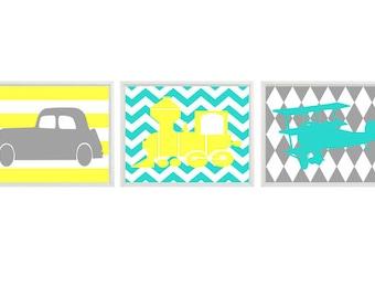 Transportation Nursery Art Print Set   - Boy Room - Car Plane Airplane Train - Aqua Yellow Gray Chevro Stripes - Wall Art Home Decor