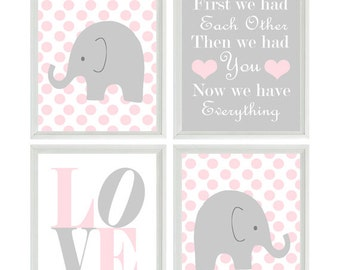Nursery Art - Elephant Polka Dots Baby Girl Nursery Prints Gray Pink Wall Art  Love - First We Had Each Other - Nursery Decor Quote -