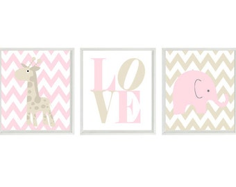 Nursery Art - Elephant Giraffe Chevron - Baby Girl Nursery Prints, Tan Light Pink White Wall Art  Love - Modern  Nursery Decor