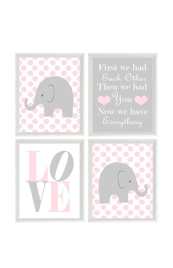Nursery art elephant polka dots baby girl nursery prints for Baby girl nursery paintings