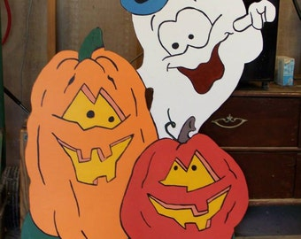 Halloween Playful Ghost and his two Pumpkin Friends