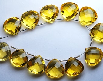 4 Match Pair --AAA--CITRINE Quartz Faceted Heart Briolettes 12mm Size Calibrated Size