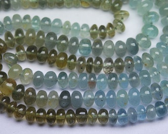 8 Inch,SUPERB-FINEST Quality, Moss Aquamarine Smooth Polished Rondells 5-5.5mm