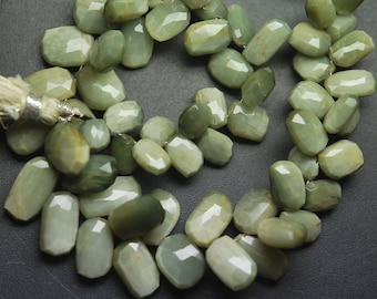 1/2 Inch Strand,Super Finest,GREEN Cats-Eye Faceted Fancy Shape Briolette,8-13mm