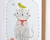 Crayon Cat greetings card