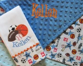 Personalized Lovey Blanket and Burp Cloth with super SPORTS theme