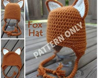 Fox Hat Crochet PATTERN, Seven Sizes, Instant Download