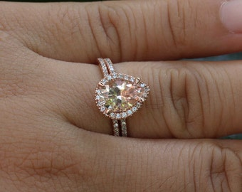 Morganite Engagement Ring 14k Rose Gold Pear 10x7mm and Diamond Wedding Band Set