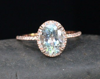 Rose Gold Aquamarine Engagement Ring Diamond Ring 14k Gold with Aquamarine Oval 9x7mm and Diamonds Halo