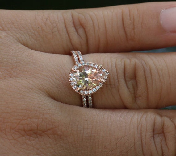 Dollar 200 OFF SALE Morganite Engagement Ring 14k Rose Gold