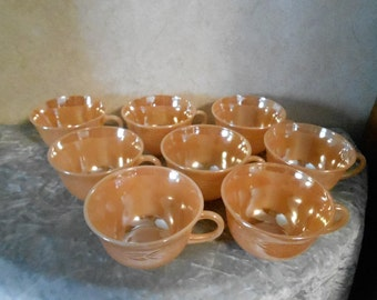 1940's  Set of 8 Fire-King Peach Lustre Coffee Cups