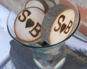 100 PERSONALIZED Wood Rounds. Rustic Vase Filler, Decoration, Wedding. Custom Orders Welcome