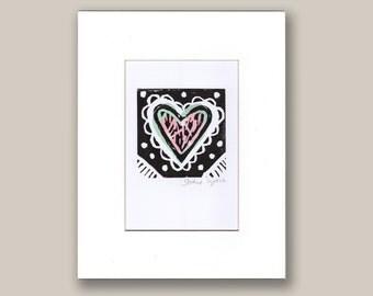 Love Heart Original Hand Printed Lino Cut Print Collage