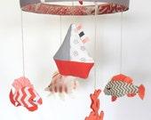 Baby Mobile--Fish Mobile--Nursery Mobile--Crib Mobile--Coral Grey Mobile