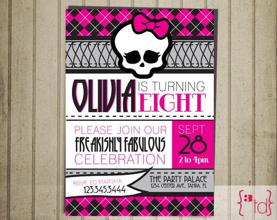 Items similar to Monster High Birthday Invitation DIY Printing on Etsy – Monster High Birthday Invitations