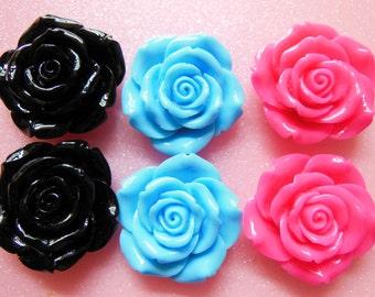 10pcs Mixed colors Big Roses cabochon 42mm