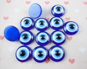 20pcs Evil Eye Stripe Round Resin 12mm Flatback Resin Cabochon