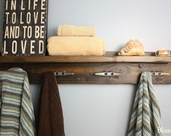 Coat Rack with Boat Cleat Hooks, Towel Rack