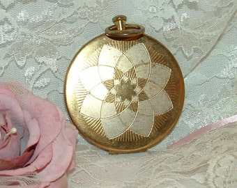 1930-50s Gold Silver Face Powder Compact Pocket Watch Style with Mirror Henrietta