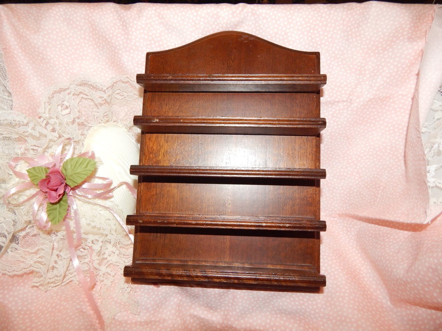 wood wall shelf display wall hanging 5 shelves for small curio. Black Bedroom Furniture Sets. Home Design Ideas