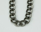 Gunmetal Chain, Aluminum Twisted Curb Chain, 19x14mm, Thread Dia. 3.6mm, Open Link Chain, Pkg of 1m(1.1 yards.), N0BG.GM08.L1M