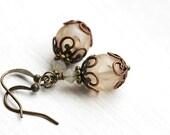 Vintage style Earrings/ Bohemian Earrings/ Boho Earrings/Beige Glass Earrings/Dangle Earrings/ Vintage style Jewelry/ Boho jewelry