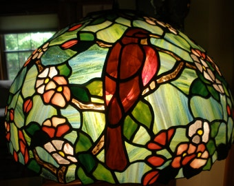 Apple blossoms and Robins Stained glass lamp shade with base
