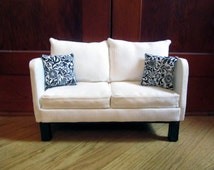 """White Tweed Contemporary 18"""" Doll Couch"""