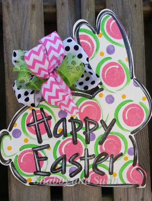 Happy Easter Bunny Rabbit Door Hanger Large Handpainted Wood
