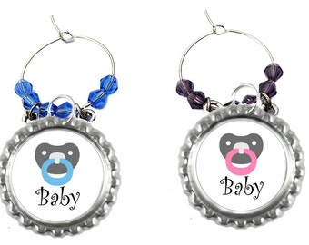 Baby Shower Wine Charms - Baby Shower Party Favors - Baby Shower Gifts - Wine Charms - Glass Tags - Sip and See Wine Charms - 5 Pack