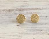 Gold earrings, stud earings, classic earrings, gold disc earrings, gold filled earrings, gold stud earrings  -815