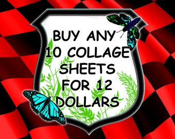 Buy any 10 collage sheets for 12 Dollars- -any designs and graphics for scrapbooking, stickers.