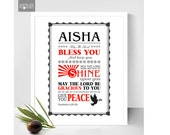 """Blessing Personalised print  Bible verse Art , Priestly Blessing- """"The Lord bless you and keep you"""" Numbers 6:24-2,"""