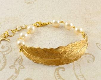 Golden Feather Bracelet, White Cream Pearl Bracelet, Woodland Wedding Jewelry