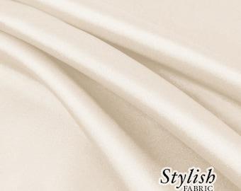 "60"" Cream Charmeuse Satin Fabric by the Yard, Charmeuse Fabrics, Charmeuse Satin Fabrics, Bridal Wedding Satin Fabric- 1 Yard Style 2800"