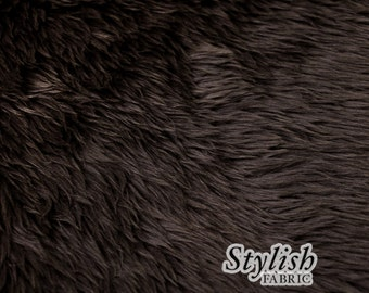 Dark Brown Pile Luxury Shag Faux Fur Fabric by the yard for costume, throws, home furnishing, photo props - 1 Yard Style 5009