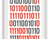 Printable Poster: I Love You in Binary - Vertical 24x36 - Digital Wall Art