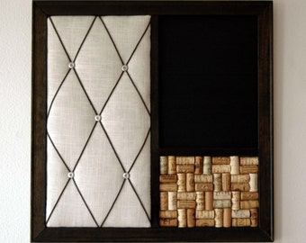 French Memo Board, Chalkboard,Wine  Corkboard Wall Organizer