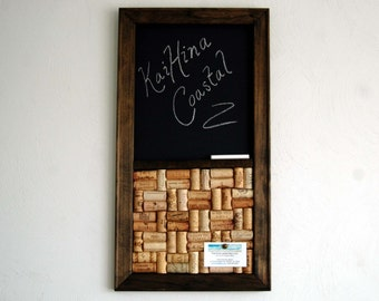 Wine Cork board & Chalkboard Combo Kitchen Organizer