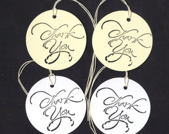 Thank You White or Cream Round Hang Tags Wedding Shower, Decoration, Favor Bag Tags, DIY Tags, Place / Escort Cards (set of 20 Script)