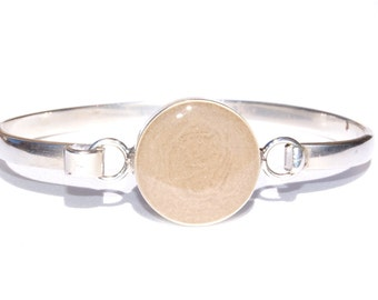 Bangle Clasp Cremation Bracelet with 20mm Circle Pendant - Sterling Silver Pet Ashes Jewelry