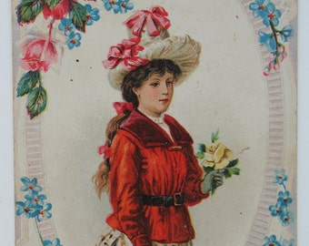 VALENTINE Card Valentine Day Girl with Red Dress Flowers LOVE Flowers