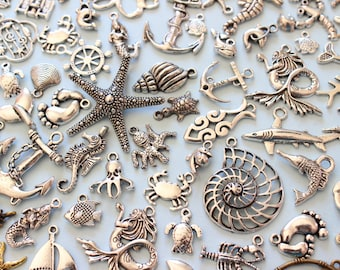 Wholesale 100+ Piece of Various Ocean Charms seahorse Starfish, fish, dolphins, turtle